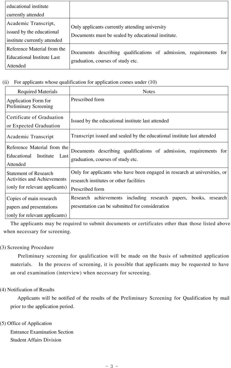 (ii) For applicants whose qualification for application comes under (10) Required Materials Application Form for Preliminary Screening Notes Certificate of Graduation or Expected Graduation Academic