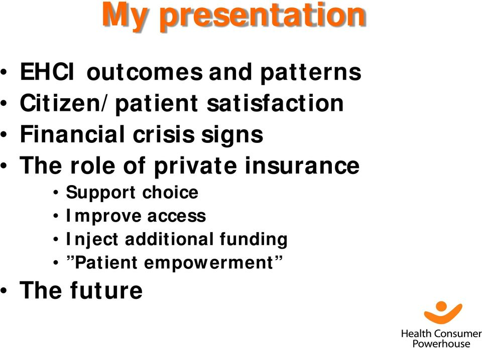 The role of private insurance Support choice Improve