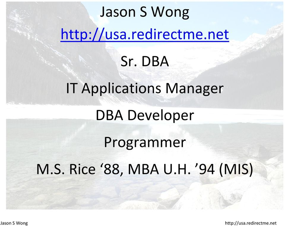 DBA IT Applications Manager DBA