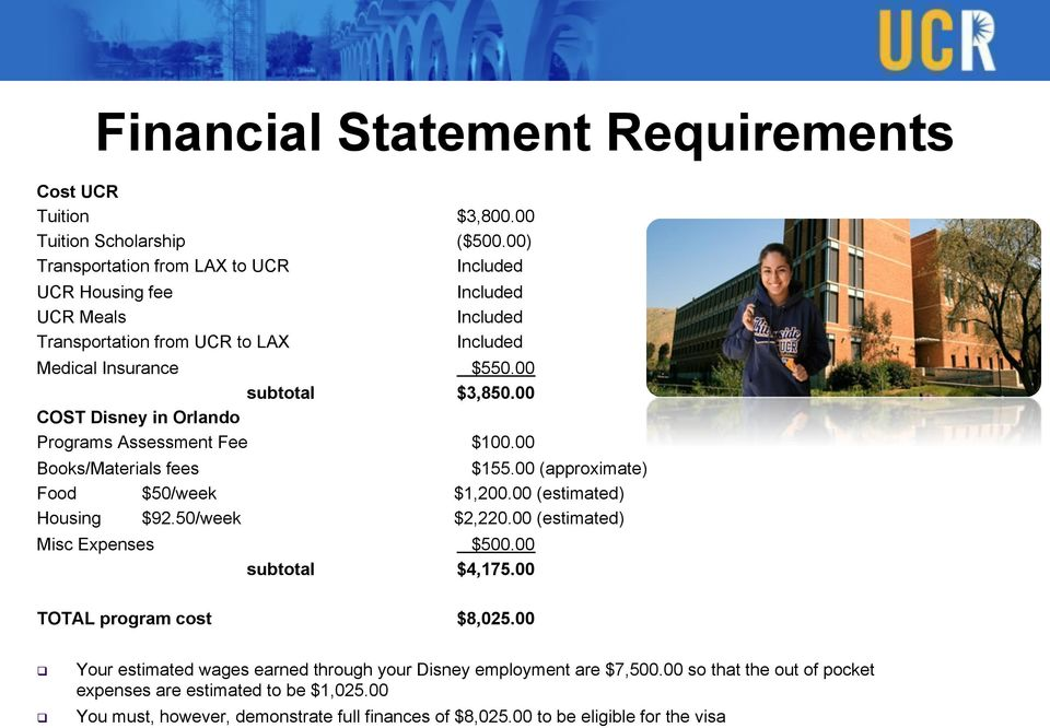 00 COST Disney in Orlando Programs Assessment Fee $100.00 Books/Materials fees $155.00 (approximate) Food $50/week $1,200.00 (estimated) Housing $92.50/week $2,220.