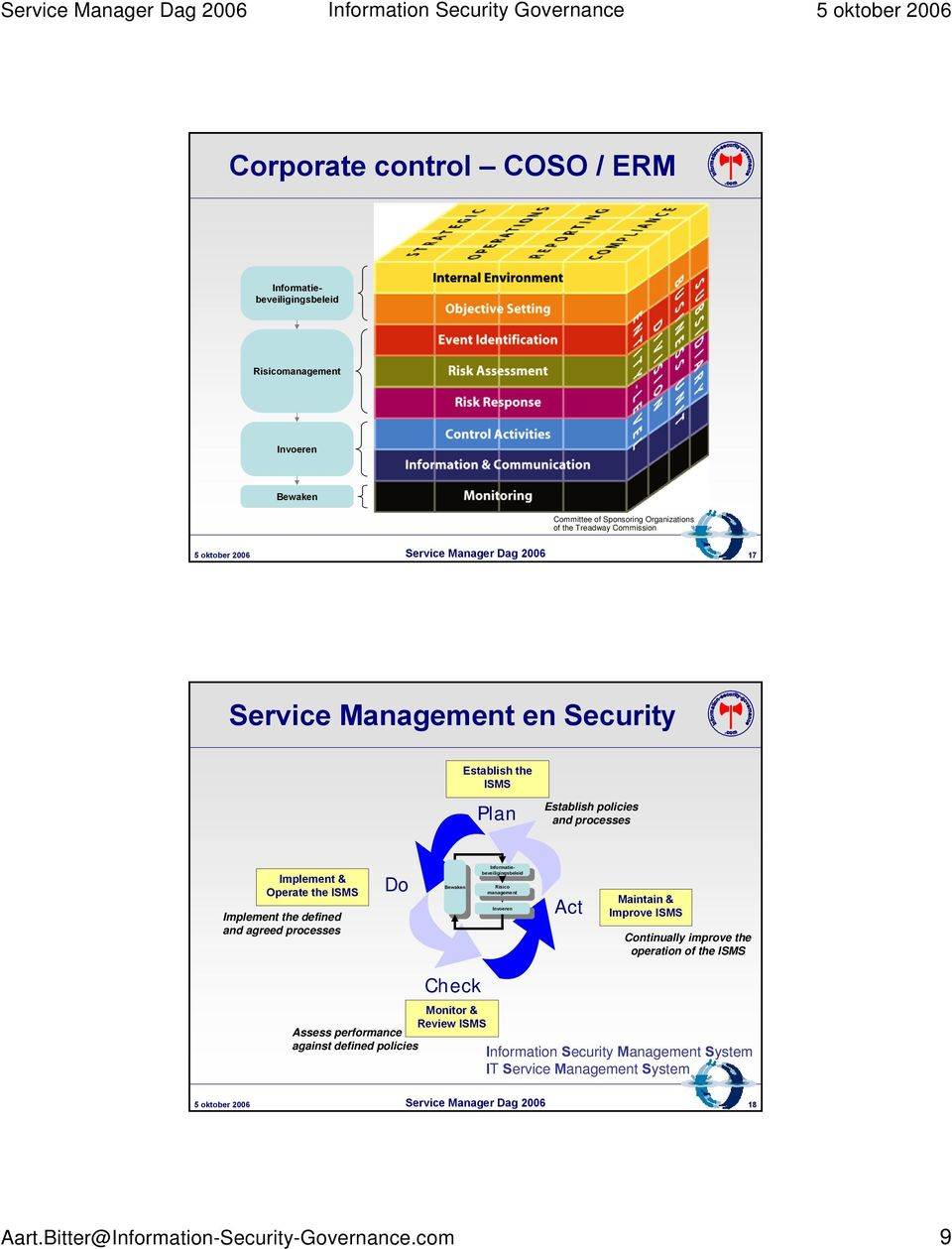 management Risico management Invoeren Invoeren Act Maintain & Improve ISMS Continually improve the operation of the ISMS Assess performance against defined