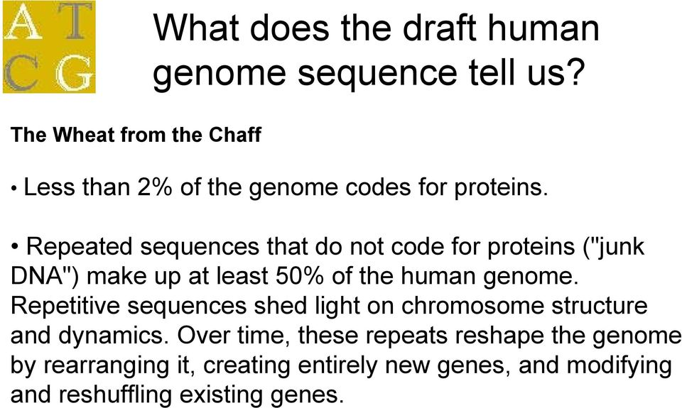 "Repeated sequences that do not code for proteins (""junk DNA"") make up at least 50% of the human genome."