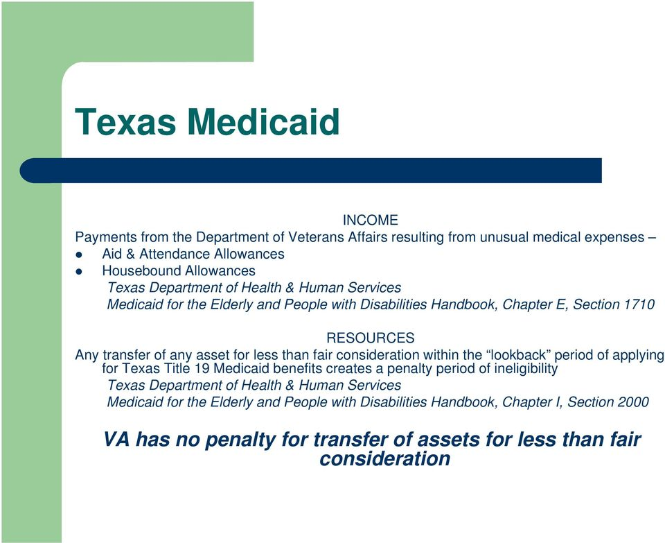 than fair consideration within the lookback period of applying for Texas Title 19 Medicaid benefits creates a penalty period of ineligibility Texas Department of Health &