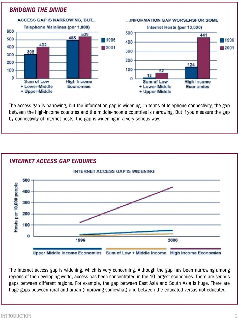 But if you measure the gap by connectivity of Internet hosts, the gap is widening in a very serious way. INTERNET ACCESS GAP ENDURES The Internet access gap is widening, which is very concerning.