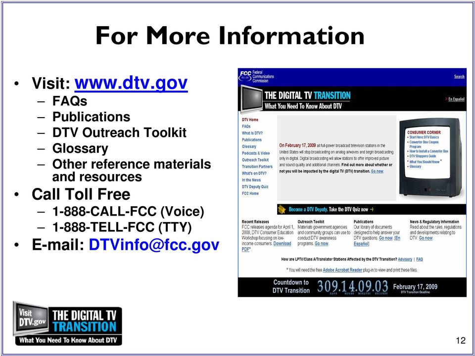 Other reference materials and resources Call Toll