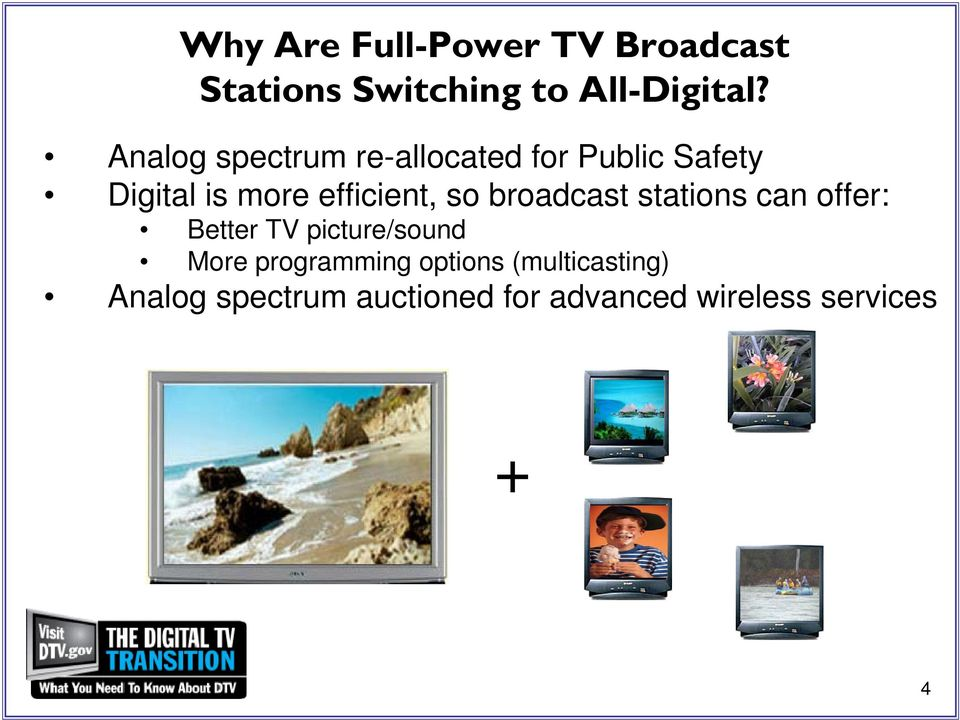 so broadcast stations can offer: Better TV picture/sound More programming