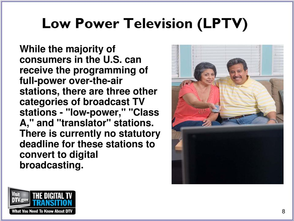 "categories of broadcast TV stations - ""low-power,"" ""Class A,"" and ""translator"""