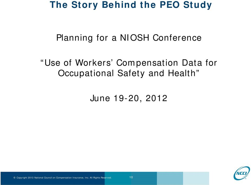 of Workers Compensation Data for
