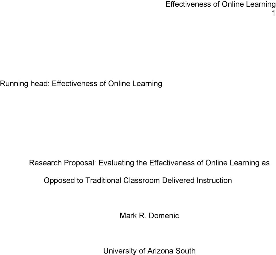 Online Learning as Opposed to Traditional Classroom