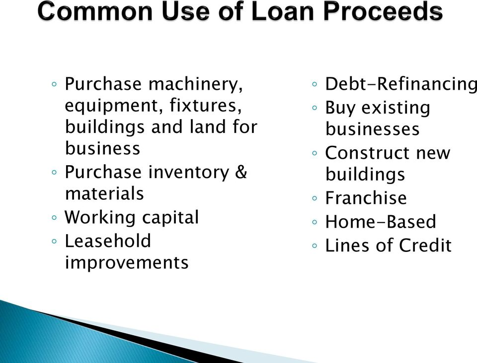 Leasehold improvements Debt-Refinancing Buy existing