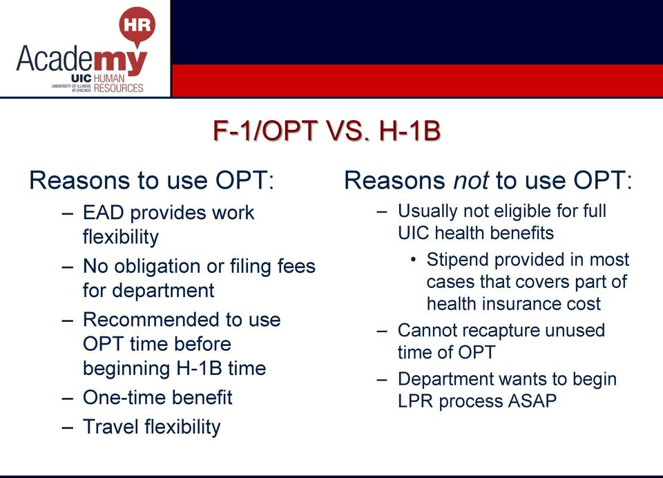 Recommended to use OPT time before beginning H-1B time One-time benefit Travel flexibility Reasons not to