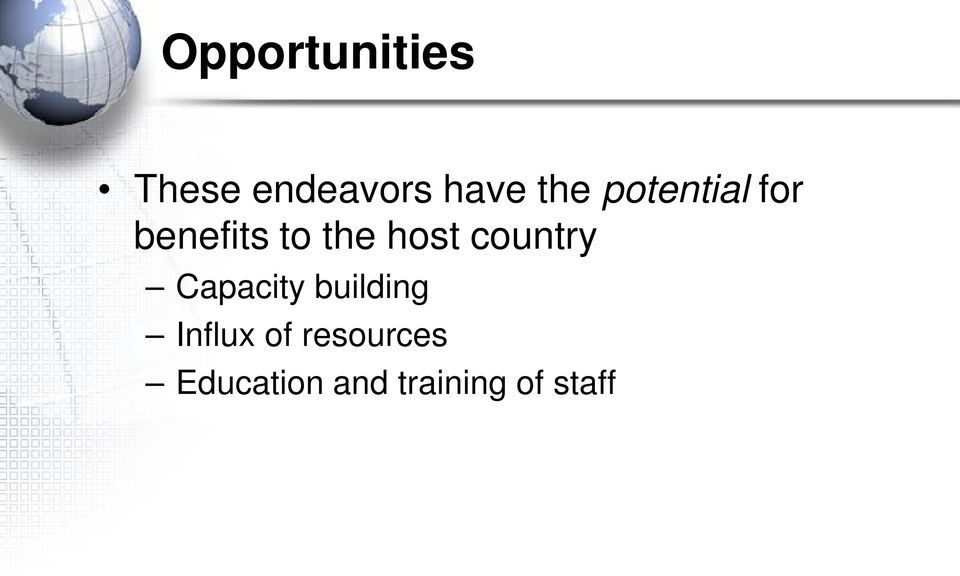 host country Capacity building Influx