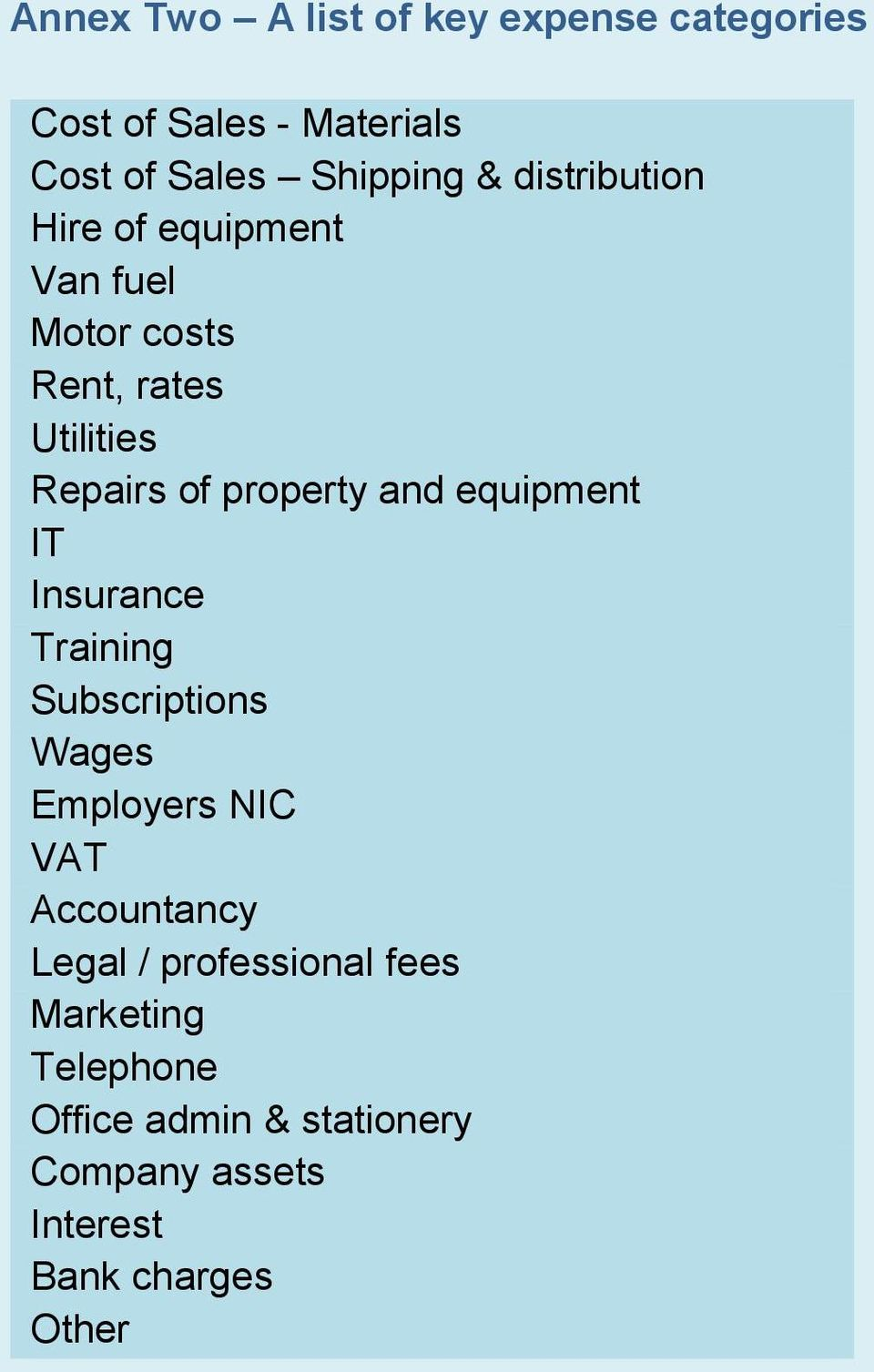 and equipment IT Insurance Training Subscriptions Wages Employers NIC VAT Accountancy Legal /