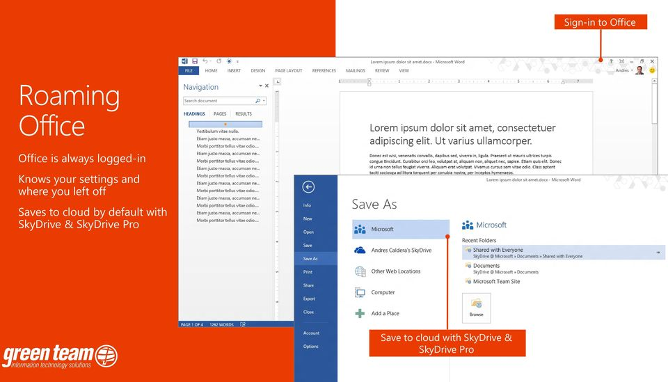 left off Saves to cloud by default with SkyDrive & SkyDrive Pro
