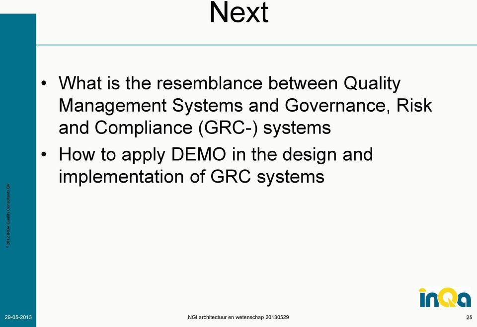 Compliance (GRC-) systems How to apply DEMO