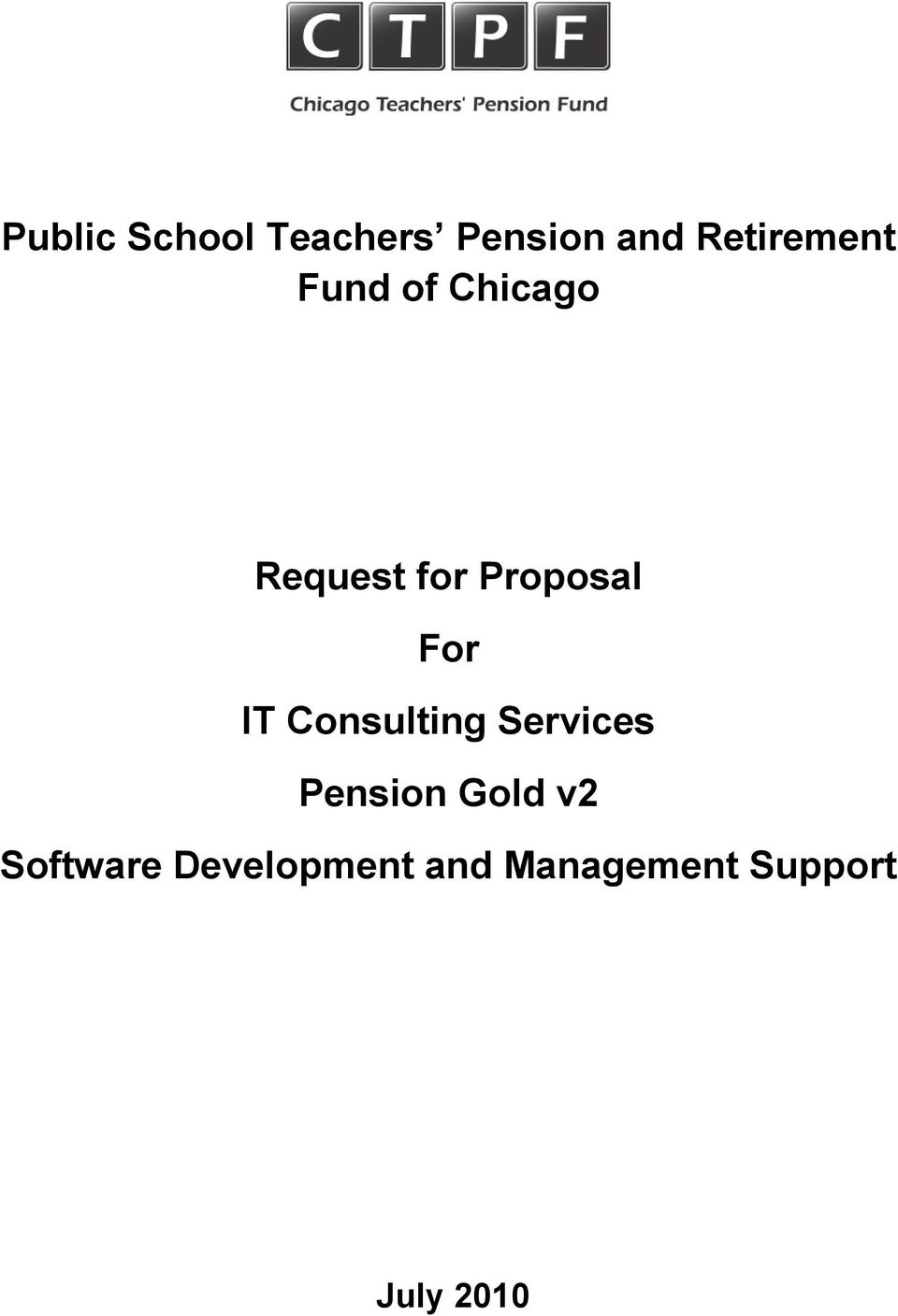 Proposal For IT Consulting Services Pension