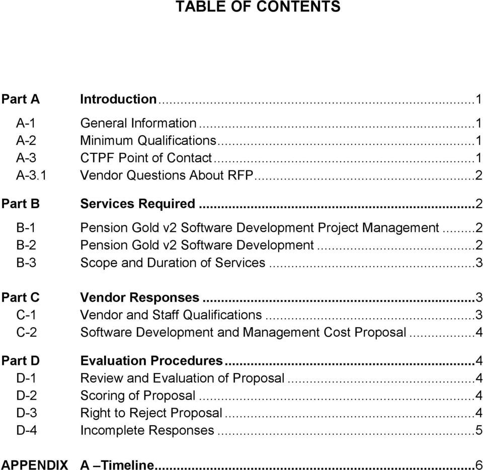 ..2 B-3 Scope and Duration of Services...3 Part C Vendor Responses...3 C-1 Vendor and Staff Qualifications...3 C-2 Software Development and Management Cost Proposal.