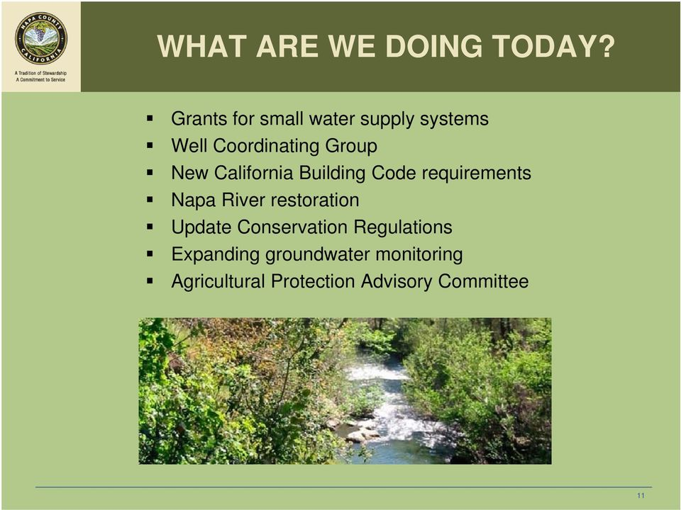 California Building Code requirements Napa River restoration
