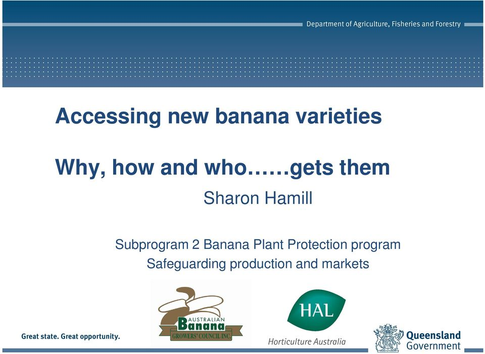 Subprogram 2 Banana Plant Protection