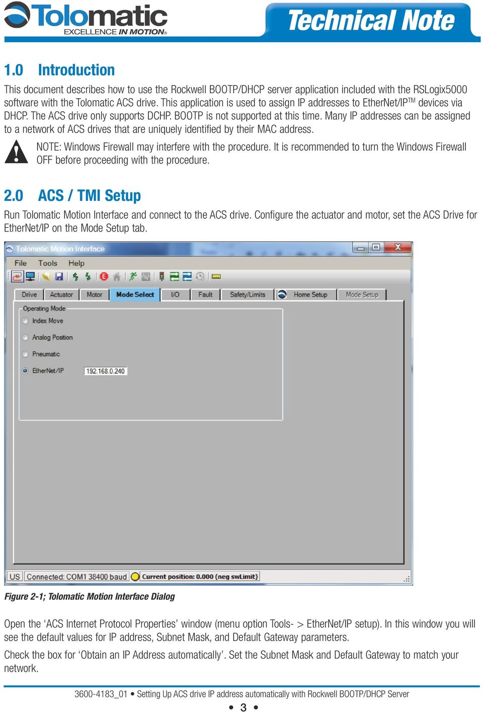 Technical Note  Setting ACS drive IP address automatically