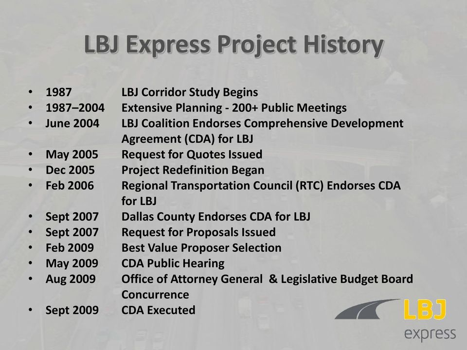 Council (RTC) Endorses CDA for LBJ Sept 2007 Dallas County Endorses CDA for LBJ Sept 2007 Request for Proposals Issued Feb 2009 Best Value