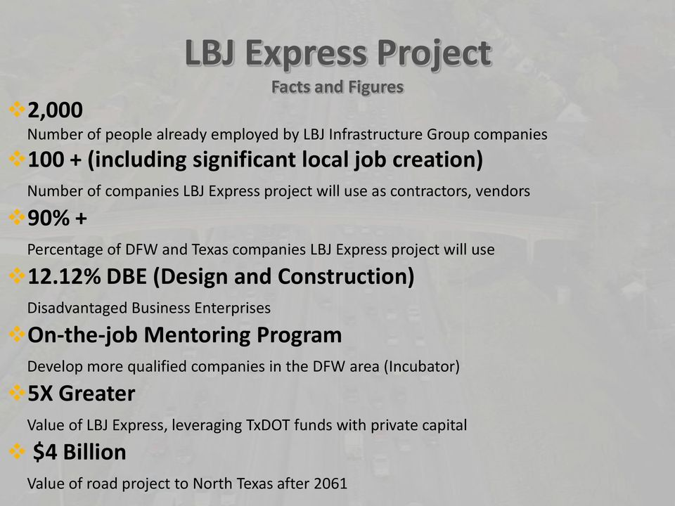 12.12% DBE (Design and Construction) Disadvantaged Business Enterprises On-the-job Mentoring Program Develop more qualified companies in the DFW