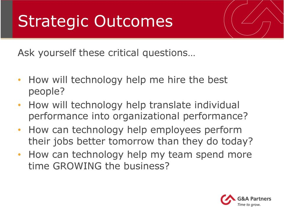 How will technology help translate individual performance into organizational