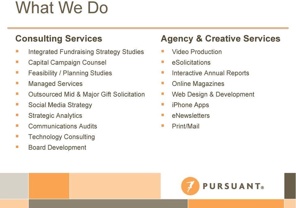 Analytics Communications Audits Technology Consulting Board Development Agency & Creative Services Video