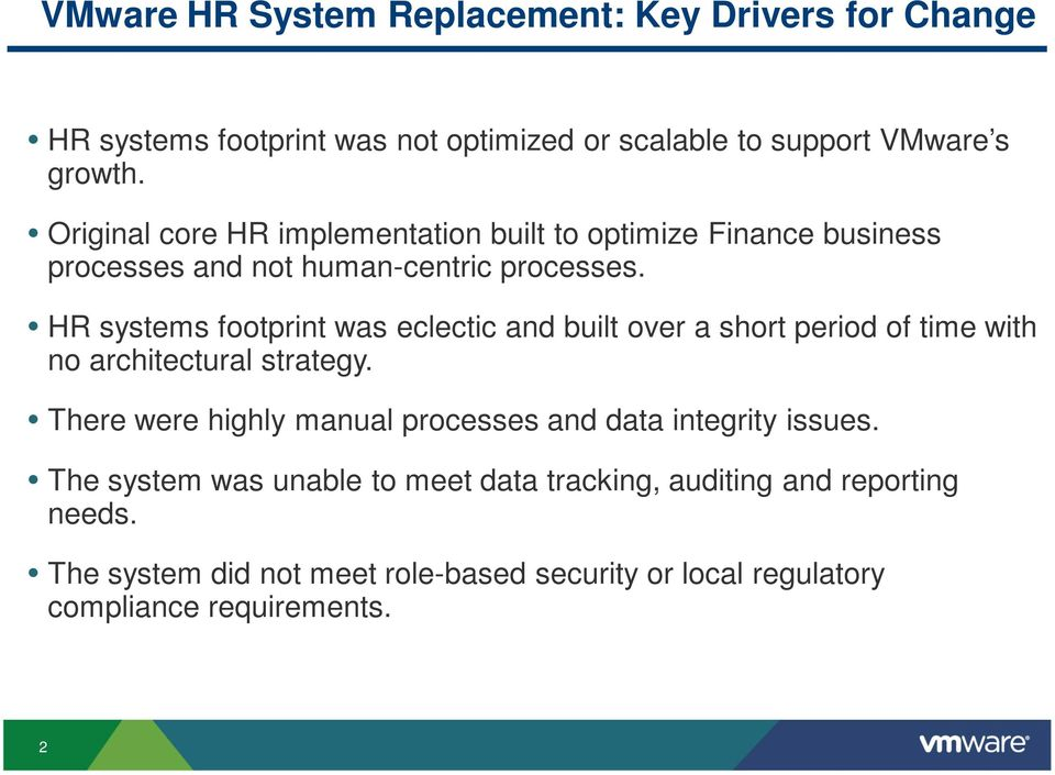 HR systems footprint was eclectic and built over a short period of time with no architectural strategy.