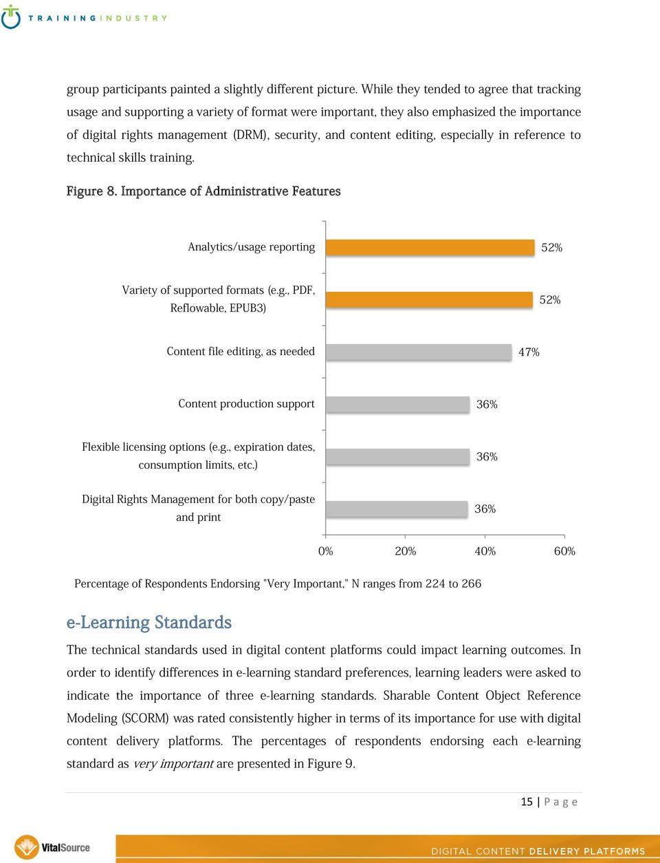 editing, especially in reference to technical skills training. Figure 8. Importance of Administrative Features Analytics/usage reporting 52% Variety of supported formats (e.g., PDF, Reflowable, EPUB3) 52% Content file editing, as needed 47% Content production support 36% Flexible licensing options (e.
