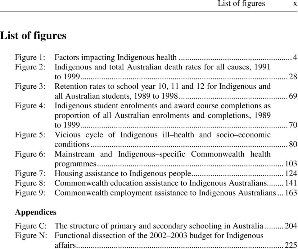 .. 69 Figure 4: Indigenous student enrolments and award course completions as proportion of all Australian enrolments and completions, 1989 to 1999.
