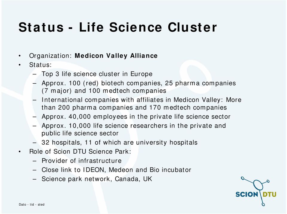 pharma companies and 170 medtech companies Approx. 40,000 employees in the private life science sector Approx.