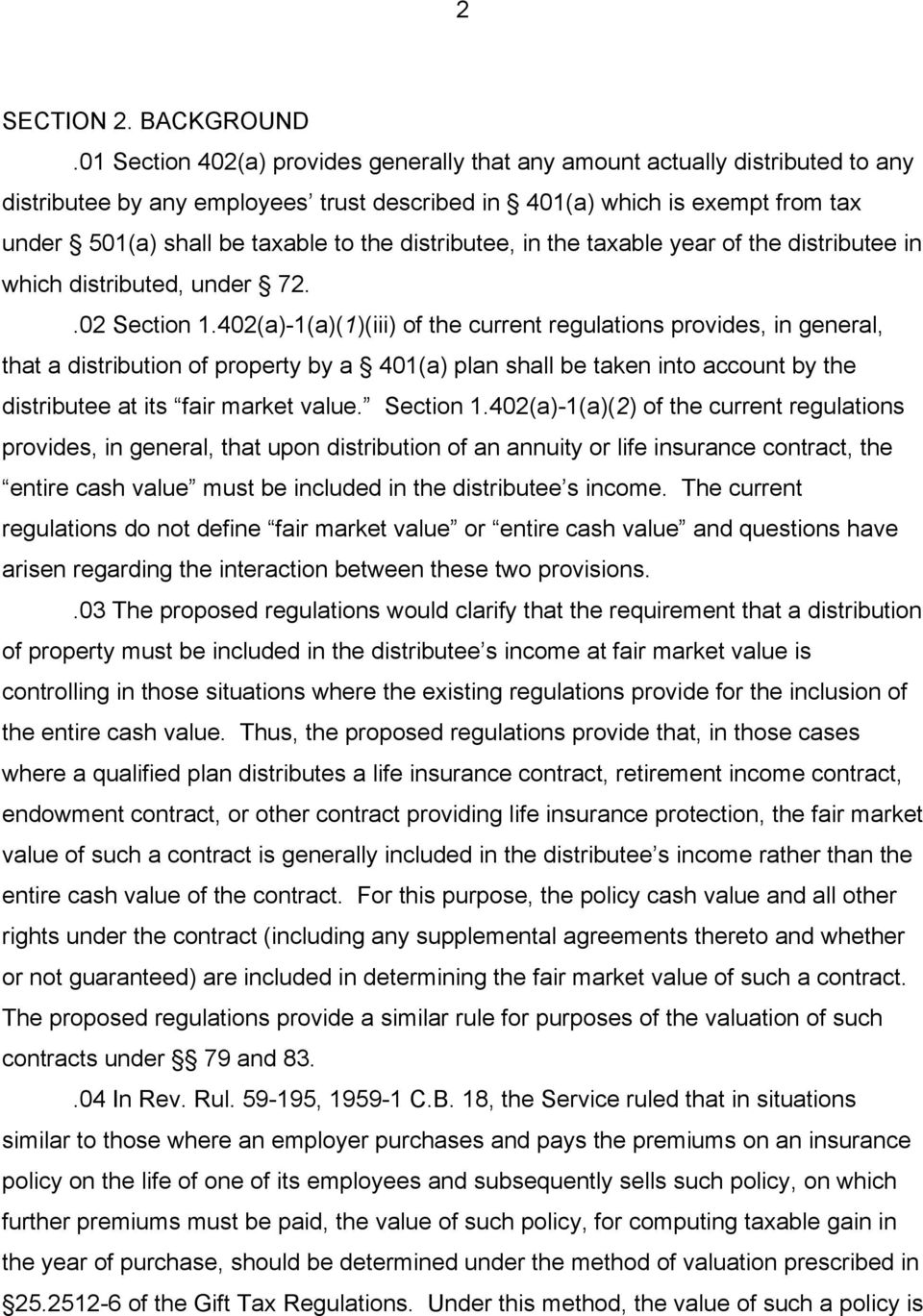 distributee, in the taxable year of the distributee in which distributed, under 72..02 Section 1.