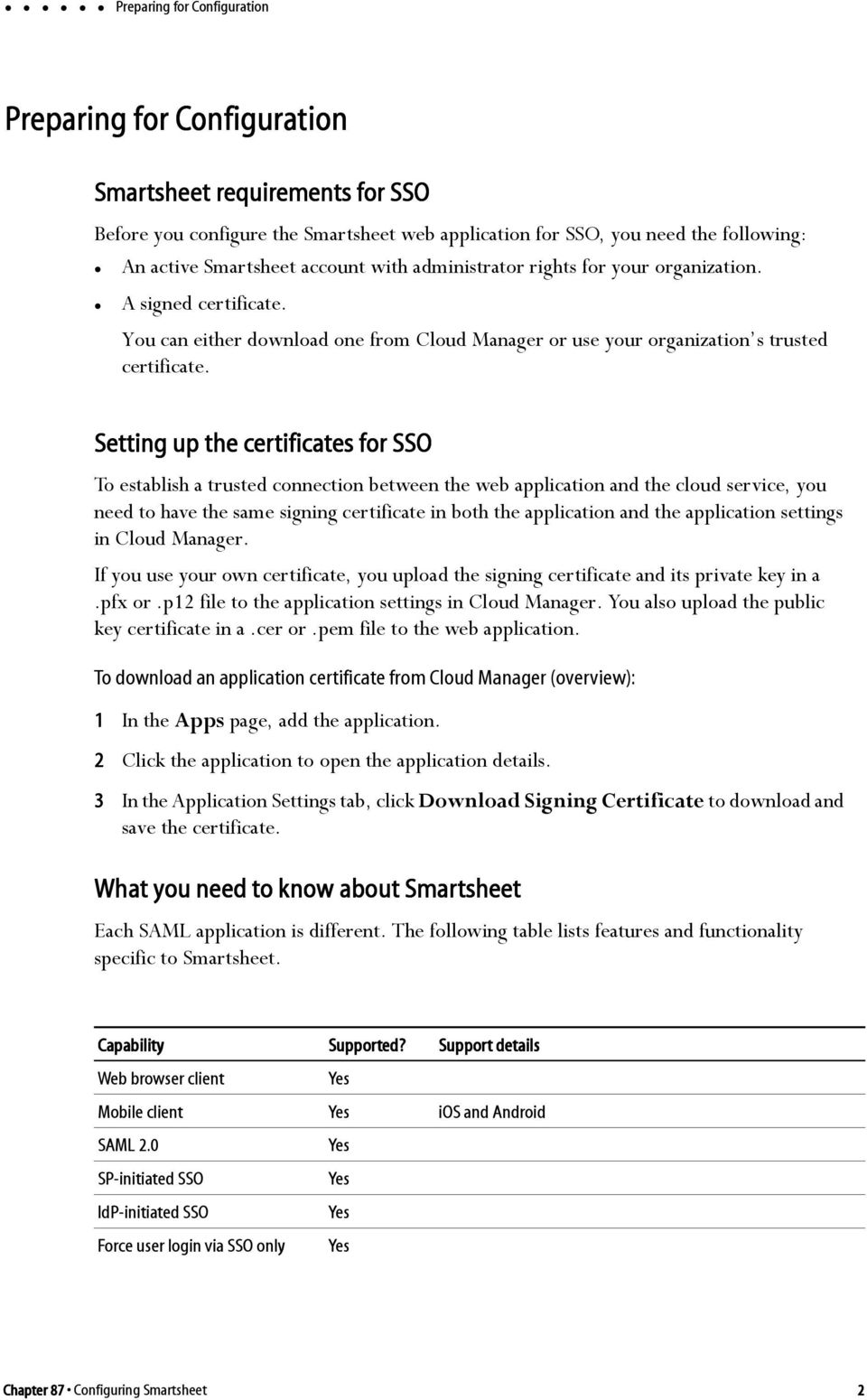 Setting up the certificates for SSO To establish a trusted connection between the web application and the cloud service, you need to have the same signing certificate in both the application and the