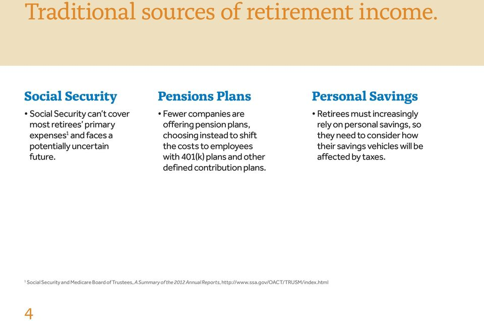 Pensions Plans Fewer companies are offering pension plans, choosing instead to shift the costs to employees with 401(k) plans and other defined