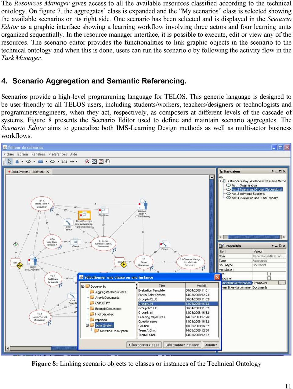 One scenario has been selected and is displayed in the Scenario Editor as a graphic interface showing a learning workflow involving three actors and four learning units organized sequentially.