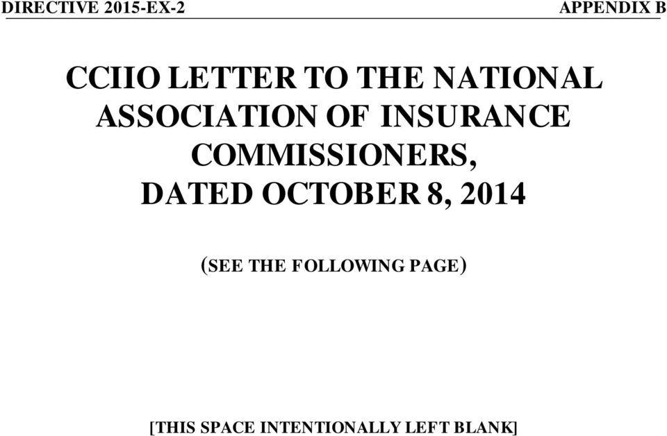 COMMISSIONERS, DATED OCTOBER 8, 2014 (SEE THE