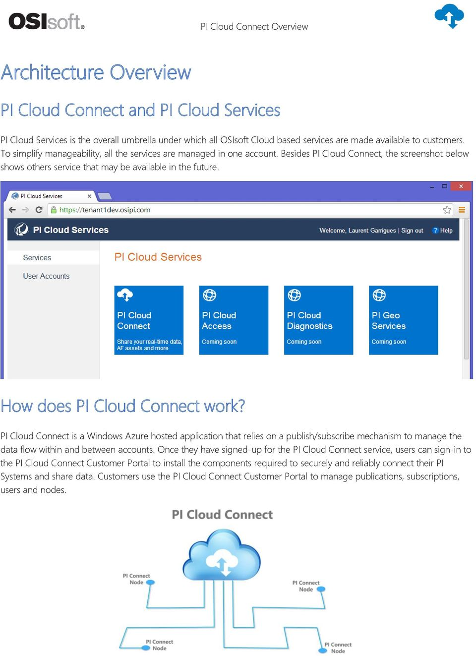 How does PI Cloud Connect work? PI Cloud Connect is a Windows Azure hosted application that relies on a publish/subscribe mechanism to manage the data flow within and between accounts.