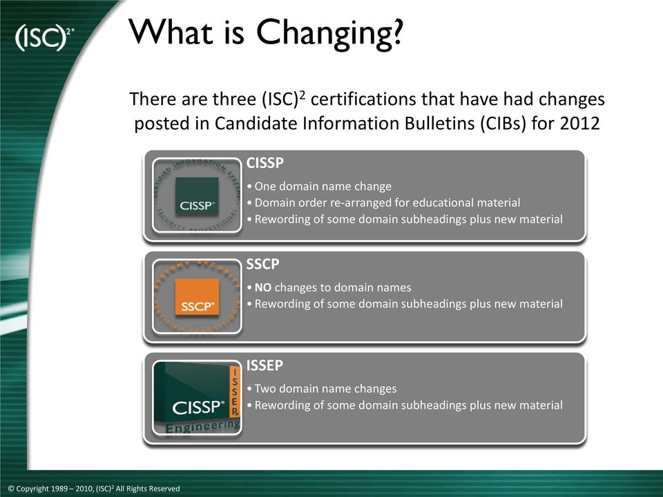 (CIBs) for 2012 CISSP One domain name change order re-arranged for educational material Rewording of some