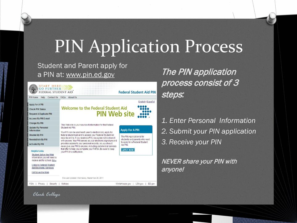 gov The PIN application process consist of 3 steps: 1.