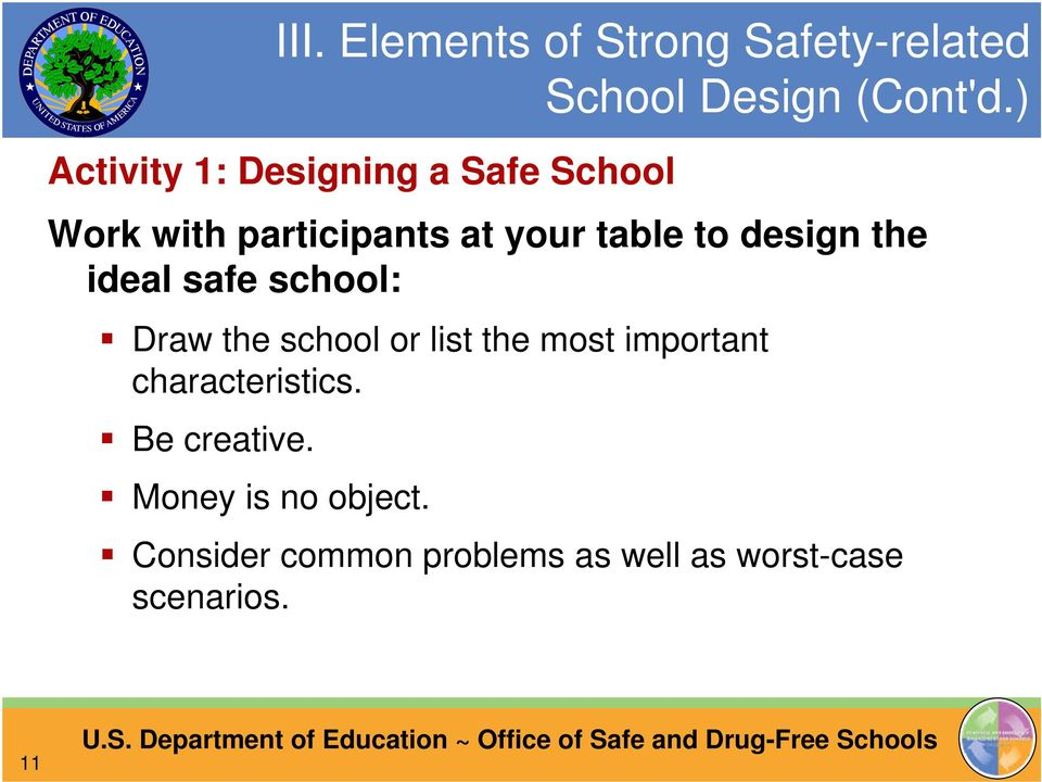 design the ideal safe school: Draw the school or list the most important