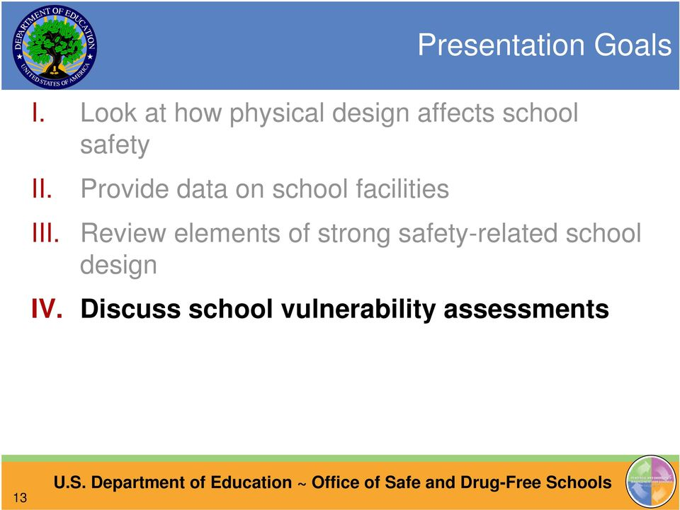 Provide data on school facilities III.