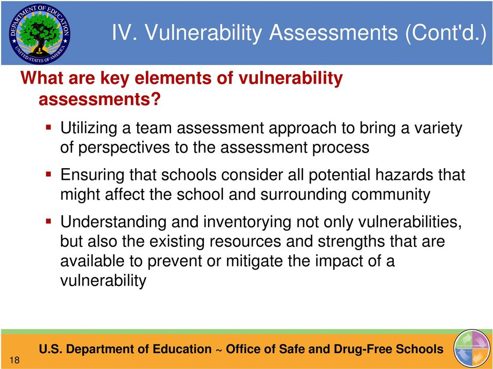 schools consider all potential hazards that might affect the school and surrounding community Understanding and
