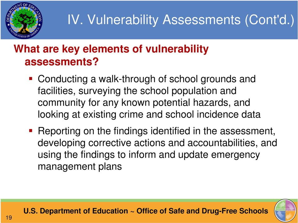 known potential hazards, and looking at existing crime and school incidence data Reporting on the findings