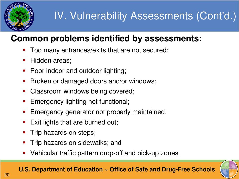 and outdoor lighting; Broken or damaged doors and/or windows; Classroom windows being covered; Emergency lighting not