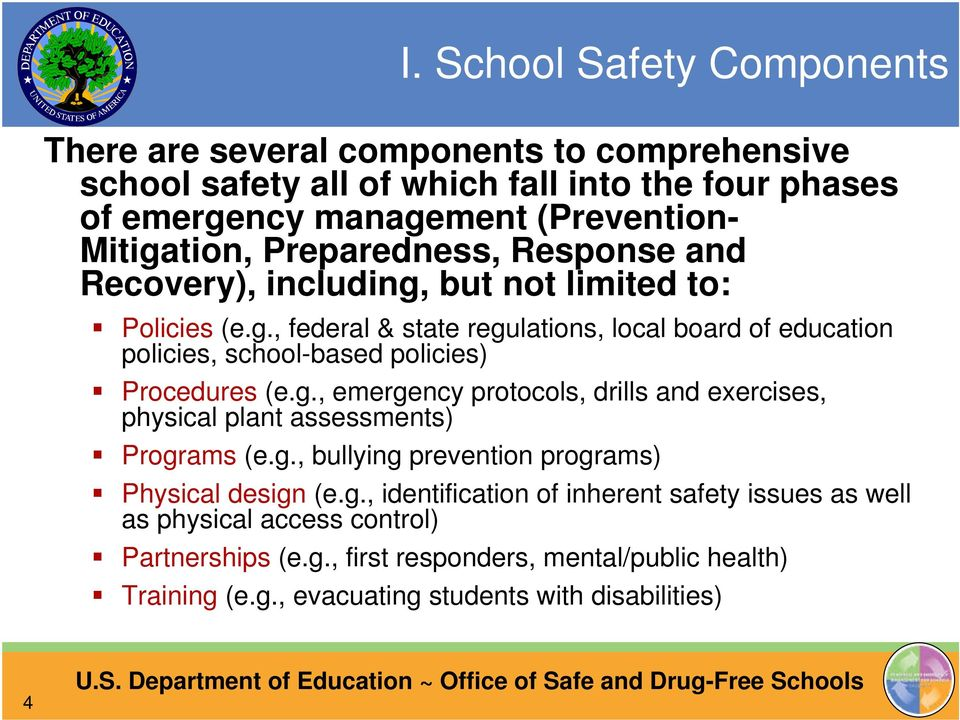 g., emergency protocols, drills and exercises, physical plant assessments) Programs (e.g., bullying prevention programs) Physical design (e.g., identification of inherent safety issues as well as physical access control) Partnerships (e.