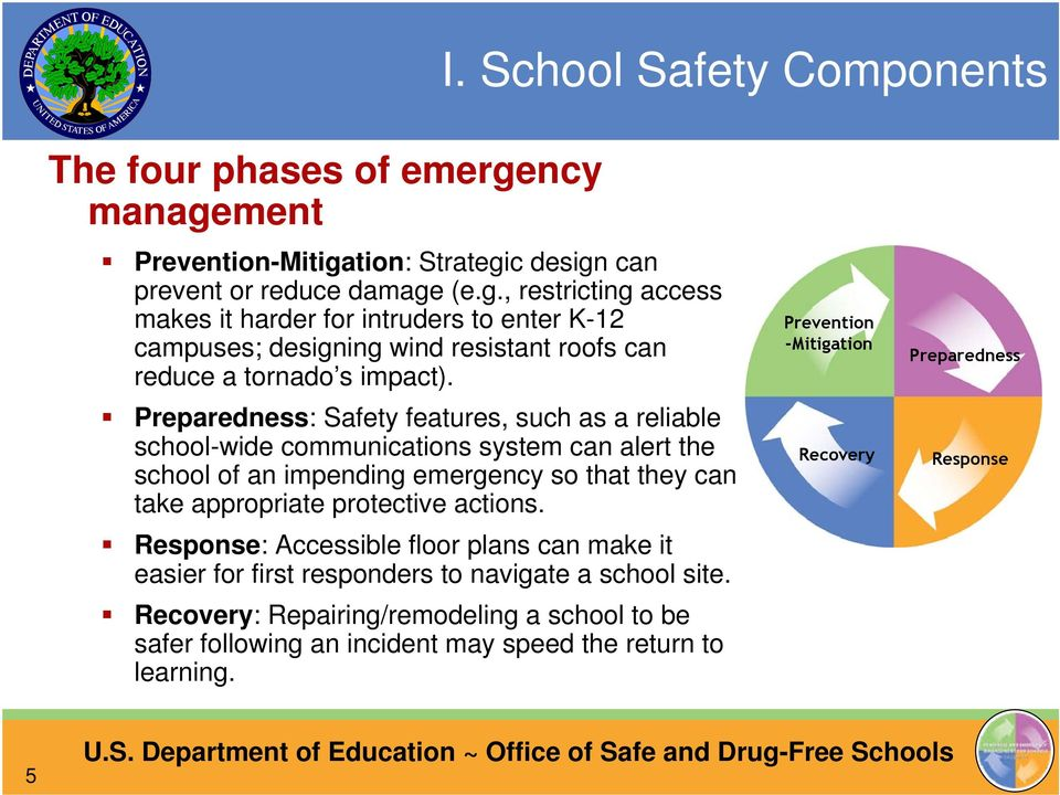 Preparedness: Safety features, such as a reliable school-wide communications system can alert the school of an impending emergency so that they can take appropriate protective