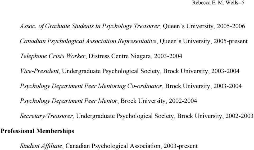 Telephone Crisis Worker, Distress Centre Niagara, 2003-2004 Vice-President, Undergraduate Psychological Society, Brock University, 2003-2004 Psychology Department