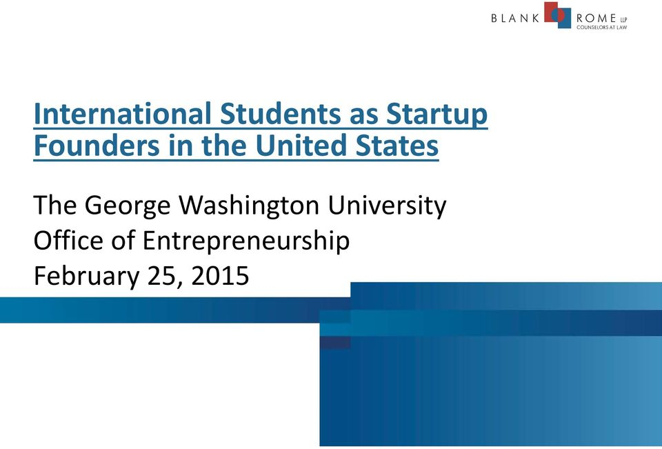 International Students as Startup Founders in the United