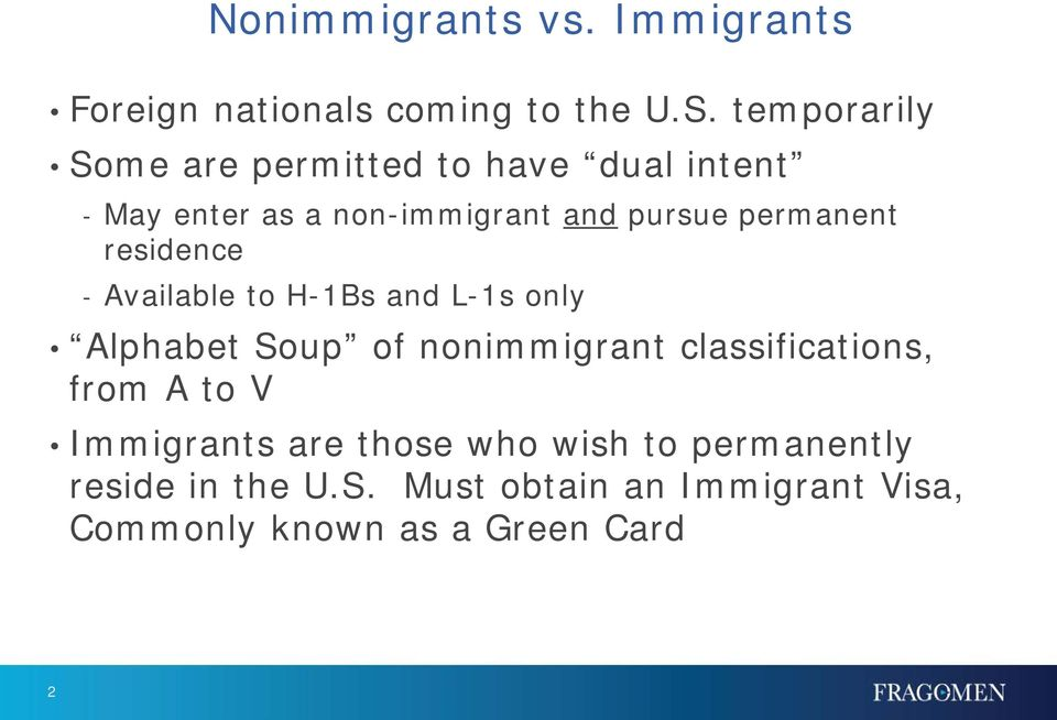 permanent residence - Available to H-1Bs and L-1s only Alphabet Soup of nonimmigrant